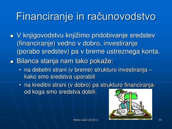 Financiranje in računovodstvo