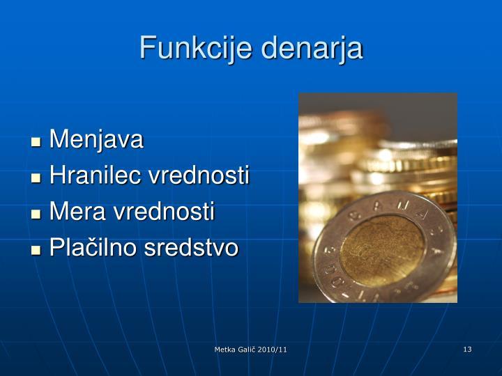 Funkcije denarja
