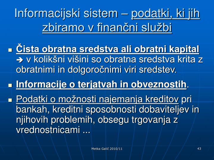 Informacijski sistem –