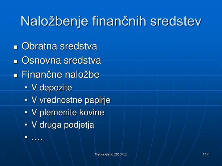 Naložbenje finančnih sredstev