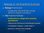 naloga in cilj finan ne funkcije
