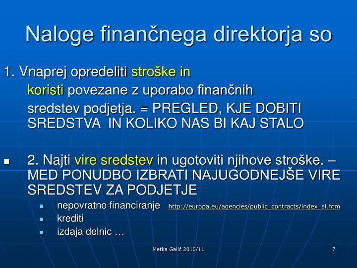 Naloge finančnega direktorja so