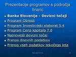 prezentacije programov s podro ja financ