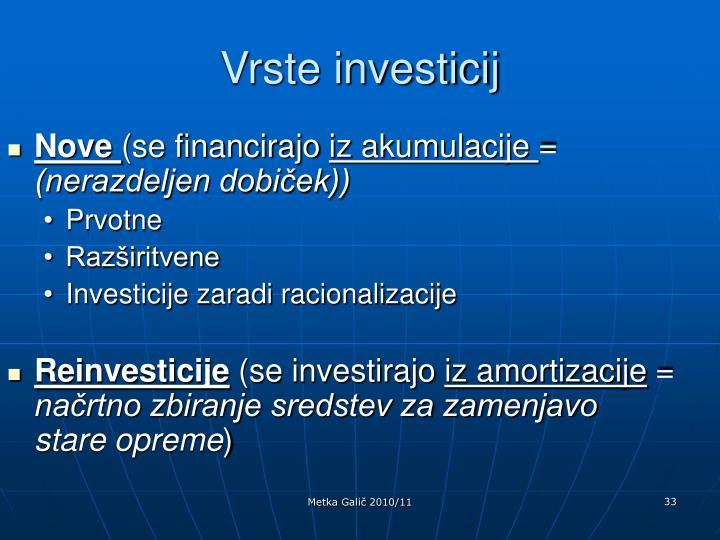 Vrste investicij