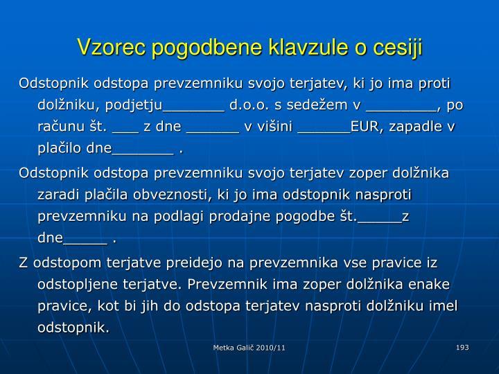 Vzorec pogodbene klavzule o cesiji