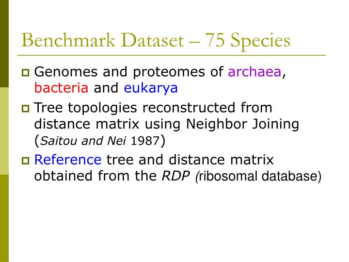Benchmark Dataset – 75 Species