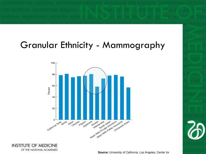 Granular Ethnicity - Mammography