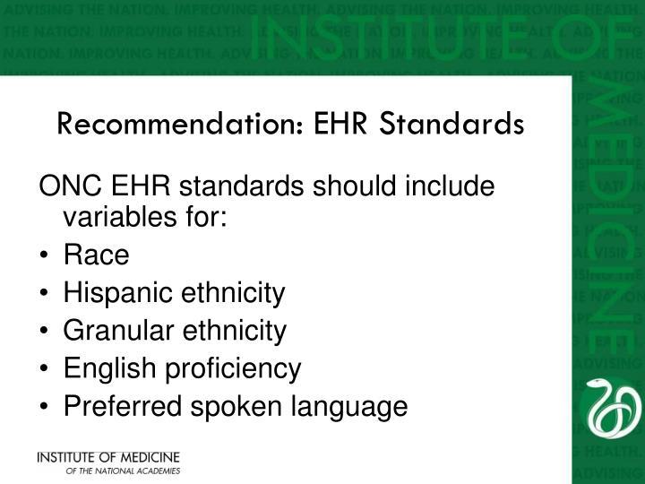 Recommendation: EHR Standards