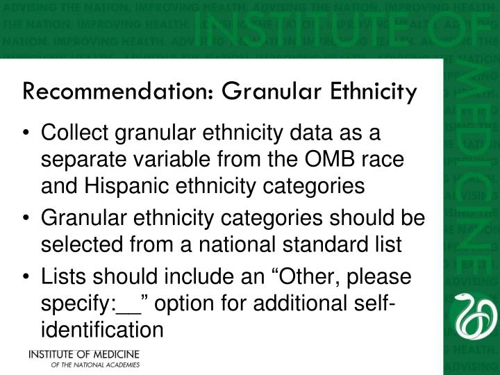 Recommendation: Granular Ethnicity