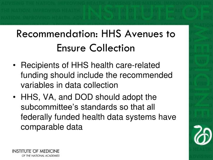 Recommendation: HHS Avenues to Ensure Collection