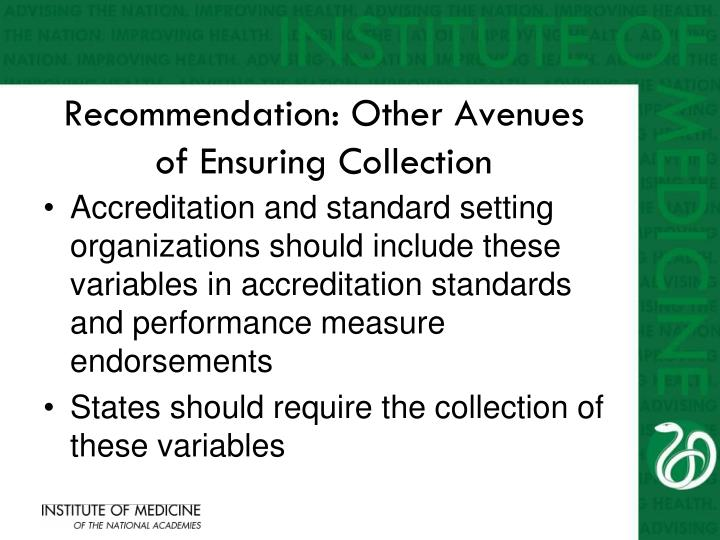 Recommendation: Other Avenues of Ensuring Collection