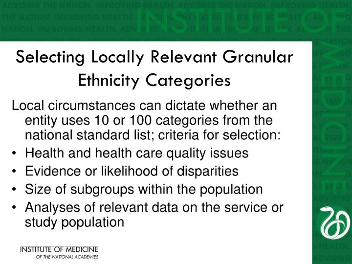 Selecting Locally Relevant Granular Ethnicity Categories