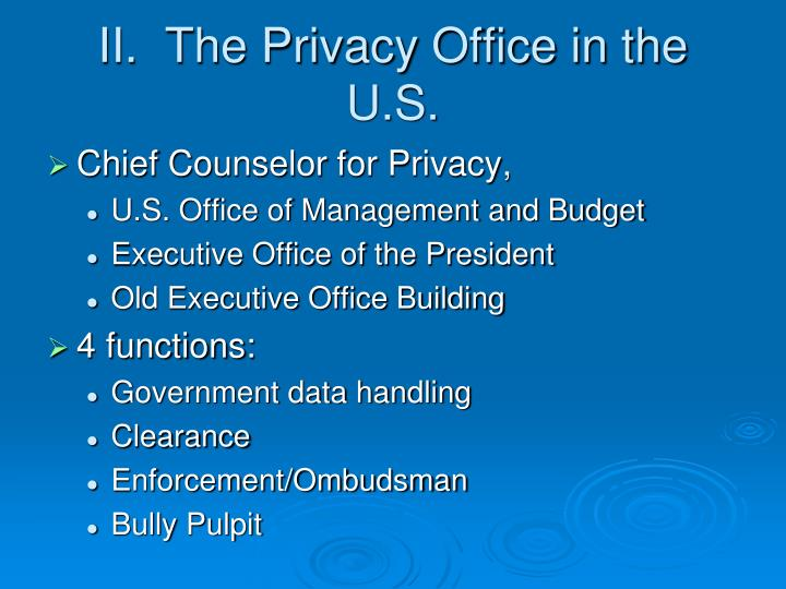 II.  The Privacy Office in the U.S.