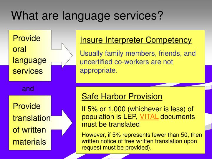 What are language services?