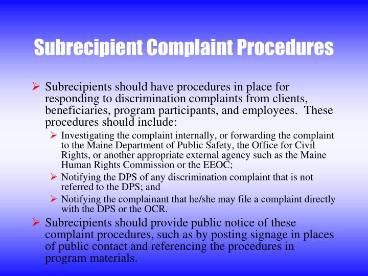 Subrecipient Complaint Procedures