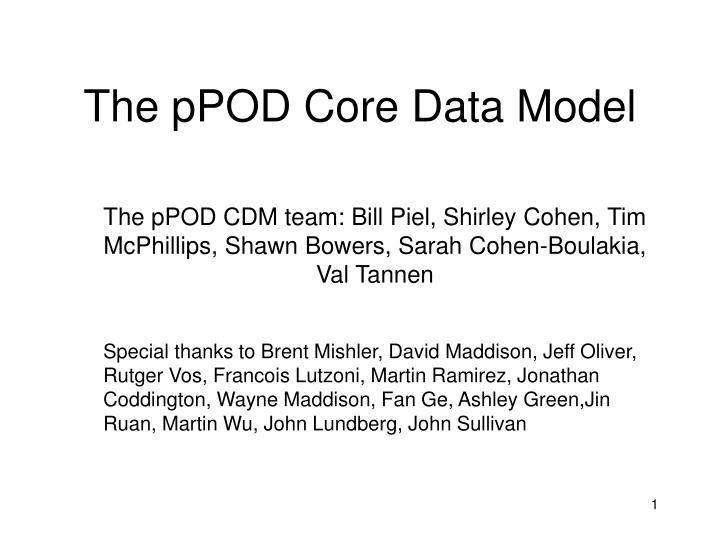 The pPOD Core Data Model