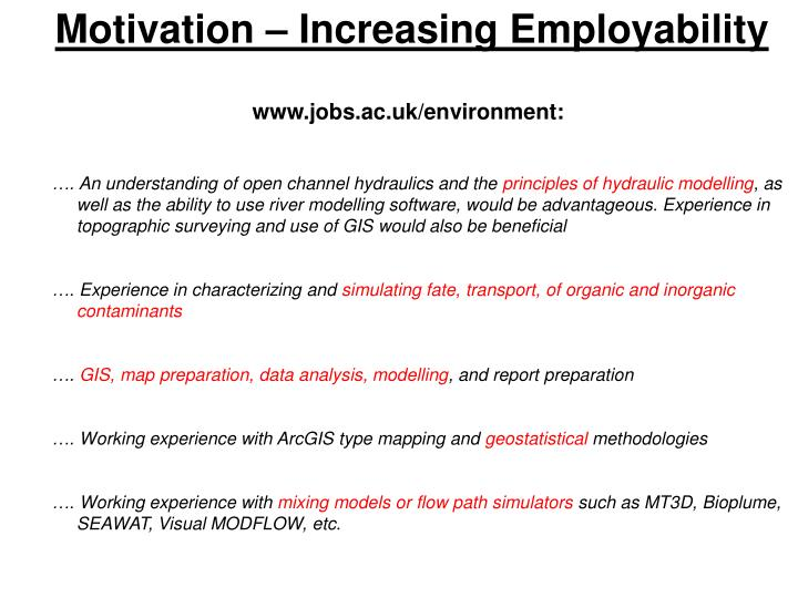 Motivation – Increasing Employability