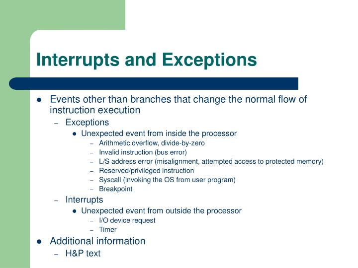 Interrupts and exceptions