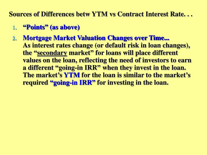 Sources of Differences betw YTM vs Contract Interest Rate. . .