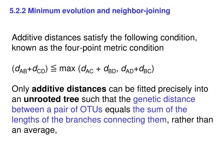 5.2.2 Minimum evolution and neighbor-joining