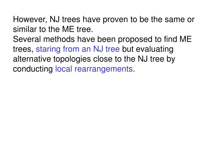However, NJ trees have proven to be the same or similar to the ME tree.