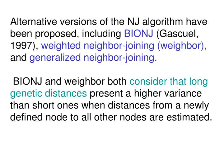 Alternative versions of the NJ algorithm have been proposed, including