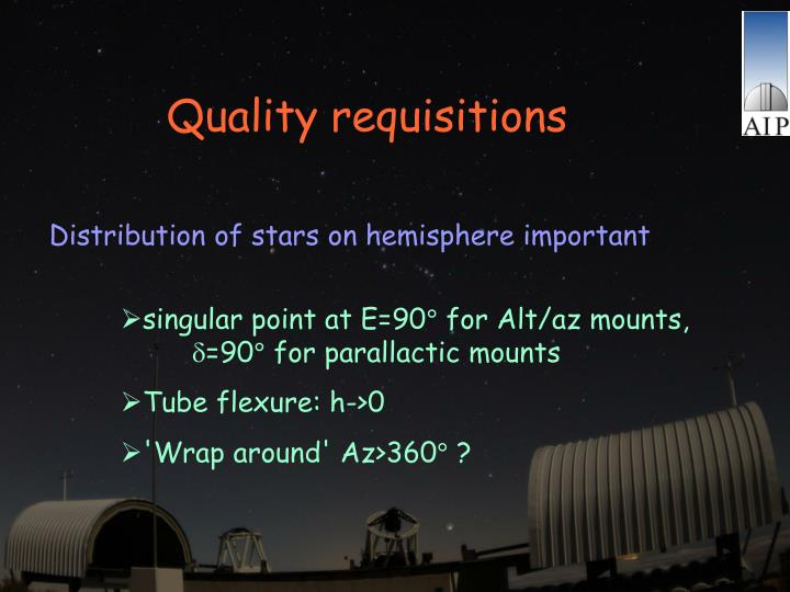 Quality requisitions