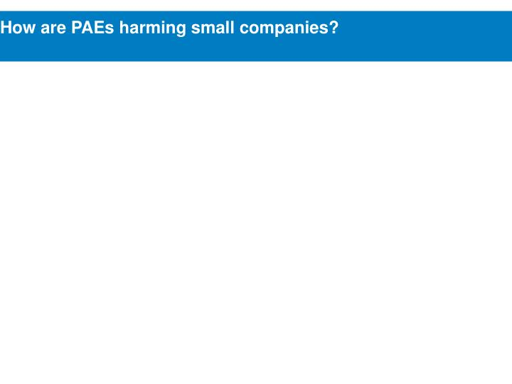 How are PAEs harming small companies?