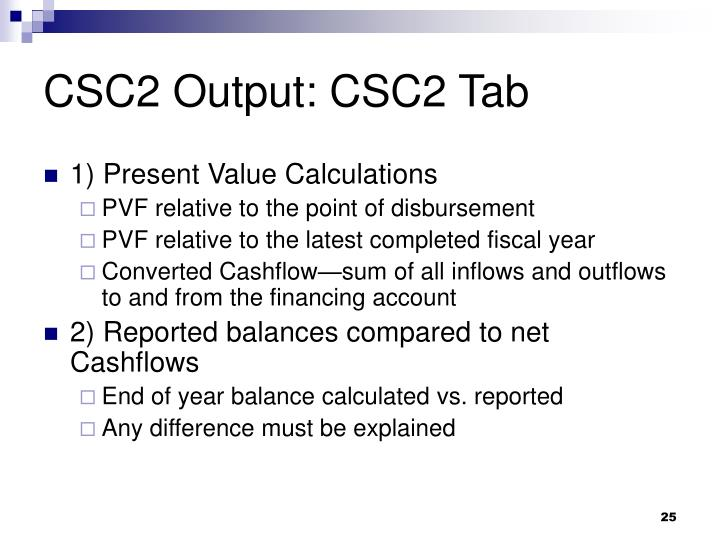 CSC2 Output: CSC2 Tab