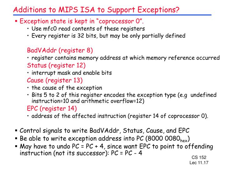 Additions to MIPS ISA to Support Exceptions?