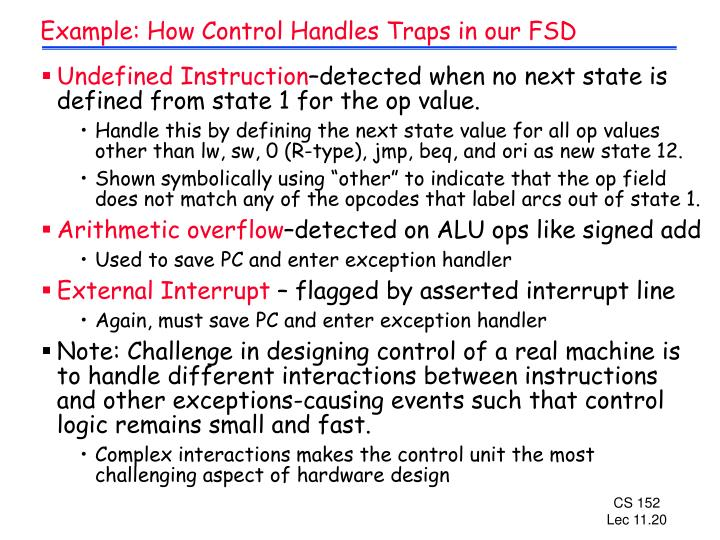 Example: How Control Handles Traps in our FSD