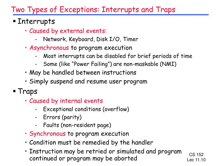 Two Types of Exceptions: Interrupts and Traps