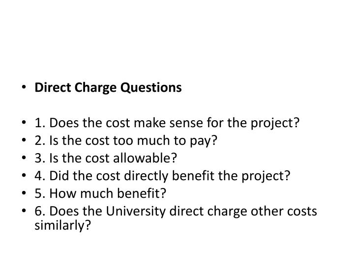 Direct Charge Questions