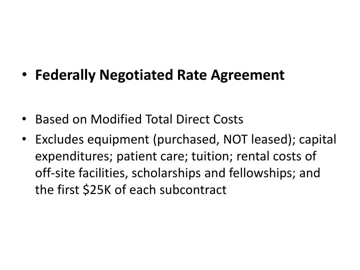 Federally Negotiated Rate Agreement