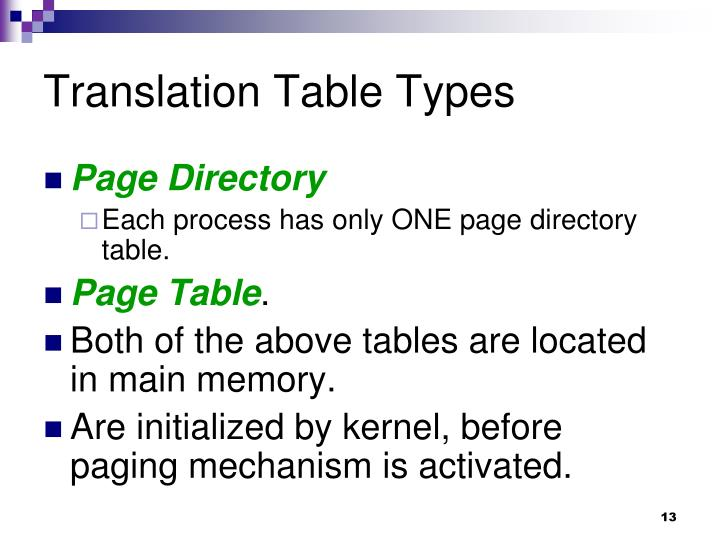 Translation Table Types