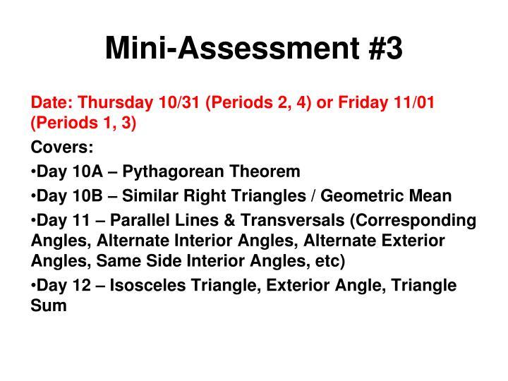Mini-Assessment #3