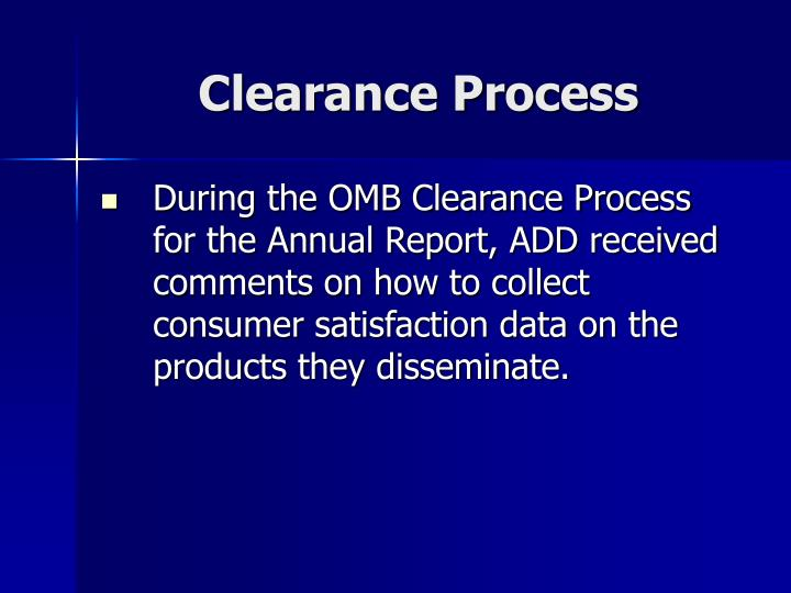 Clearance Process