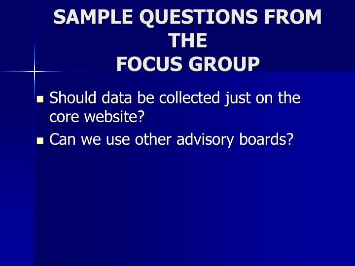 SAMPLE QUESTIONS FROM THE