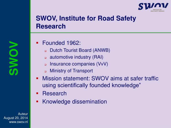 SWOV, Institute for Road Safety Research