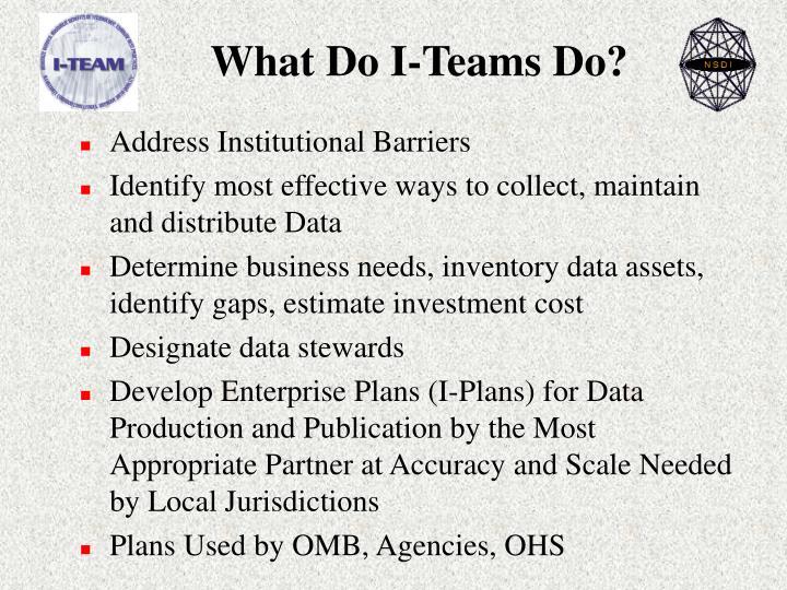 What Do I-Teams Do?