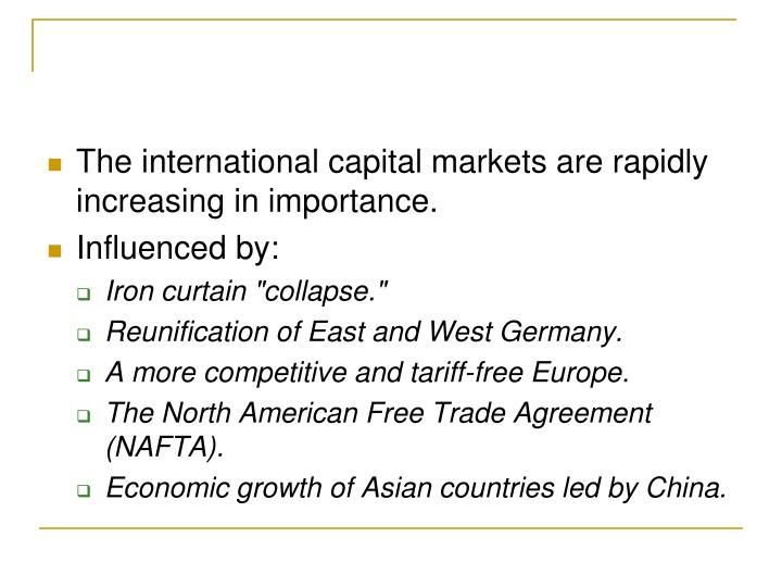 The international capital markets are rapidly increasing in importance.