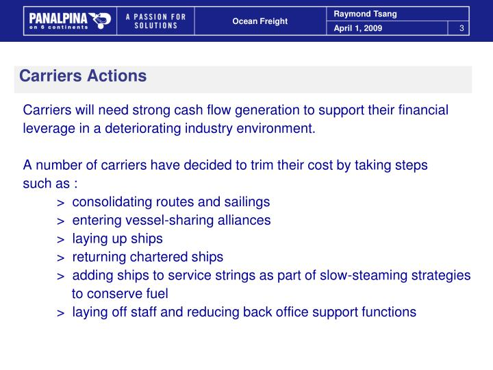 Carriers Actions