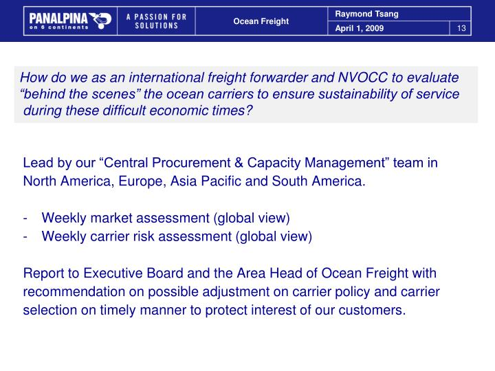 How do we as an international freight forwarder and NVOCC to evaluate