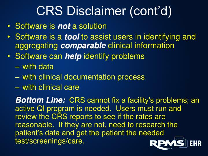 CRS Disclaimer (cont'd)