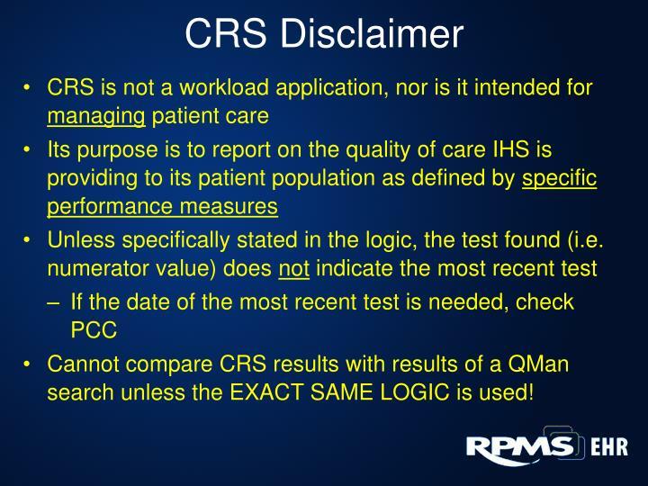 CRS Disclaimer