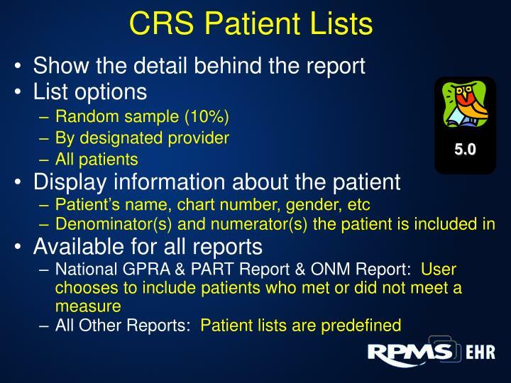 CRS Patient Lists