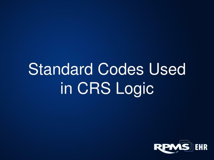 Standard Codes Used