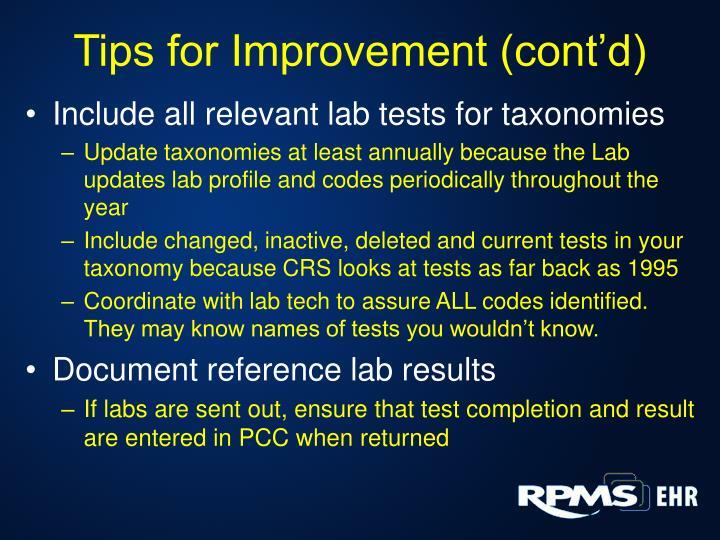 Tips for Improvement (cont'd)