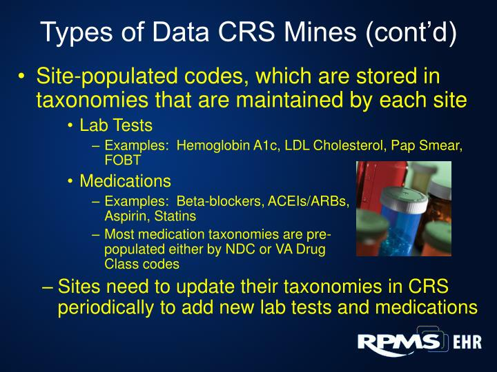 Types of Data CRS Mines (cont'd)