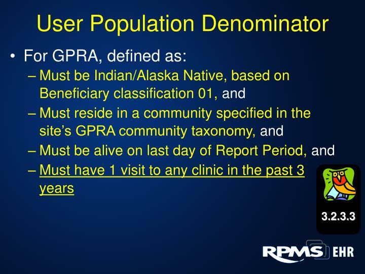 User Population Denominator